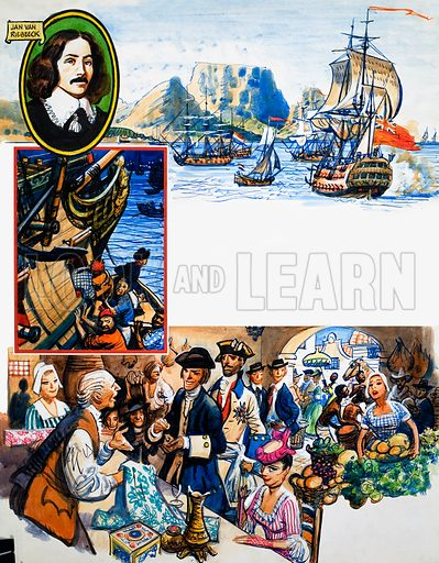 Scrapbook of the British Sailor: Tavern of the Two Seas. From Look and Learn no. 342 (3 August 1968). Original artwork loaned for scanning by the Illustration Art Gallery.