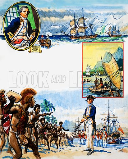 Scrapbook of the British Sailor: Voyages of Discovery. From Look and Learn no. 344 (17 Aug 1968). Original artwork loaned for scanning by the Illustration Art Gallery.