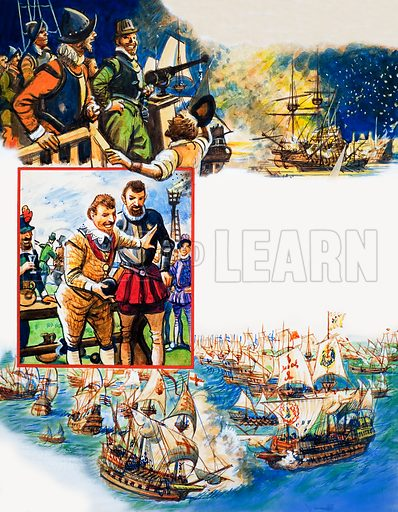 Scrapbook of the British Sailor: War With Spain. From Look and Learn no. 321 (9 March 1968). Original artwork loaned for scanning by the Illustration Art Gallery.