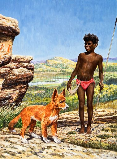 Aborigine boy with dingo.  Original artwork for the cover of Treasure issue no 85.  Lent for scanning by the Illustration Art Gallery.