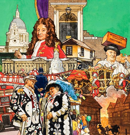 London montage. From Look and Learn (date unknown). Original artwork loaned for scanning by the Illustration Art Gallery.