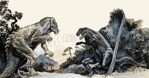 In Search of Dynosaurs. From Look and Learn no. 541 (27 May 1972). Original artwork loaned for scanning by the Illustration Art Gallery.