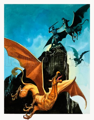 The Legend of Gudrun: Hagen Slays the Griffin. Panel from Look and Learn no. 582 (10 March 1973). Original artwork loaned for scanning by the Illustration Art Gallery.
