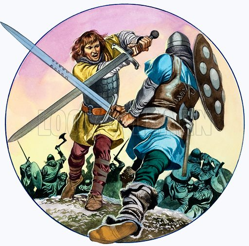 The Legend of Gudrun: Hagen's Battle With Hettel. Panel from Look and Learn no. 584 (24 March 1973). Original artwork loaned for scanning by the Illustration Art Gallery.