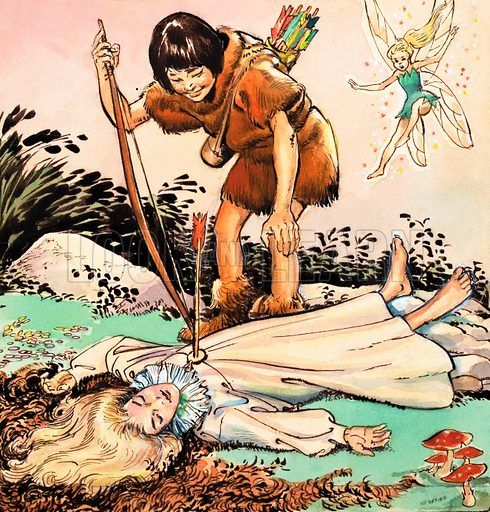 Peter Pan and Wendy. From Playhour (1958-59). Original artwork loaned for scanning by the Illustration Art Gallery.