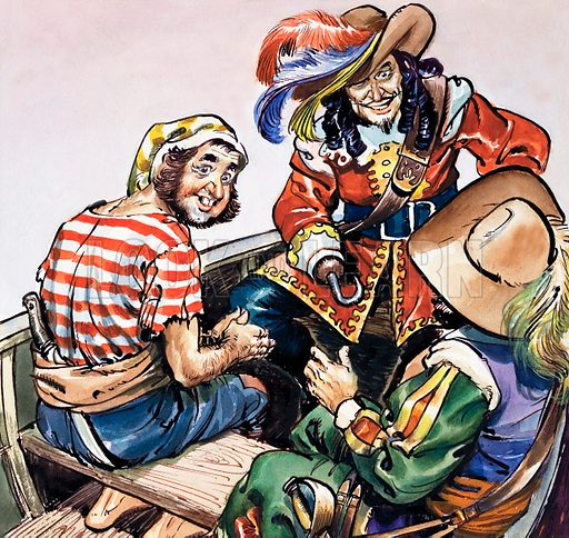 Captain Hook and his pirates, scene from JM Barrie's novel and play Peter Pan. Illustration from Playhour (1958–1959).