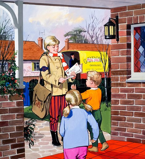 People You See: The Post Girl. From Teddy Bear (7 December 1968). Original artwork loaned for scanning by the Illustration Art Gallery.