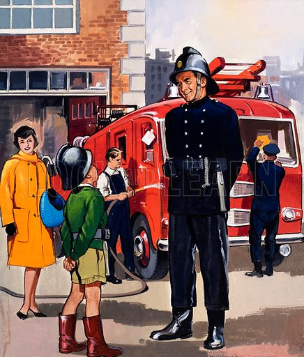 People You See: The Fireman. From Teddy Bear (9 May 1964). Original artwork loaned for scanning by the Illustration Art Gallery.