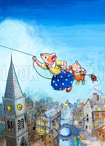 The Town Mouse and the Country Mouse.  Original artwork for Once Upon a Time.  Lent for scanning by the Illustration Art Gallery.