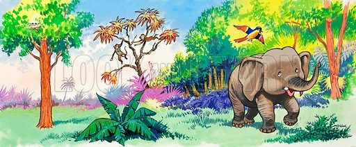 Baby Elephant and Bird. Original artwork loaned for scanning by the Illustration Art Gallery.