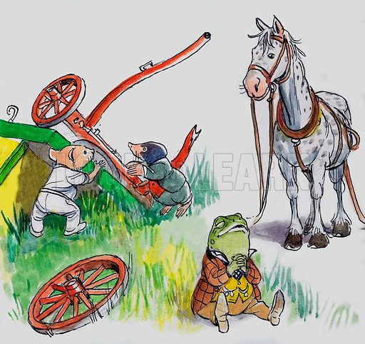 Rat, Mole and Toad of Toad Hall, characters from The Wind in the Willows, by Kenneth Grahame. Original artwork for Treasure.
