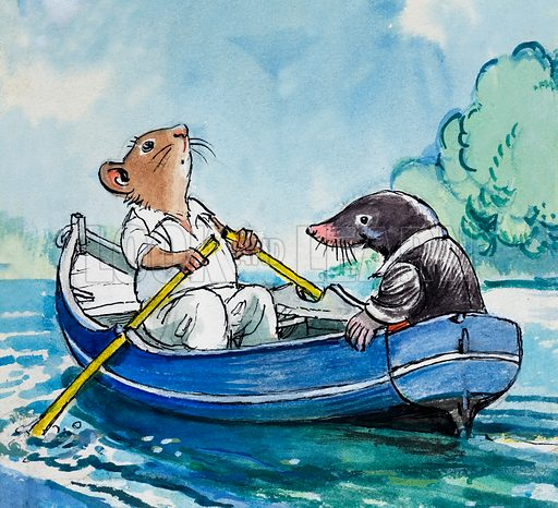 Rat and Mole in a boat on the river, scene from The Wind in the Willows, by Kenneth Grahame. Original artwork for Treasure.
