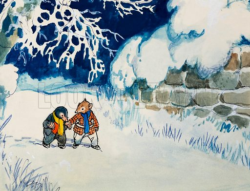Mole and Rat walking in the snow, scene from The Wind in the Willows, by Kenneth Grahame. Original artwork for Treasure.