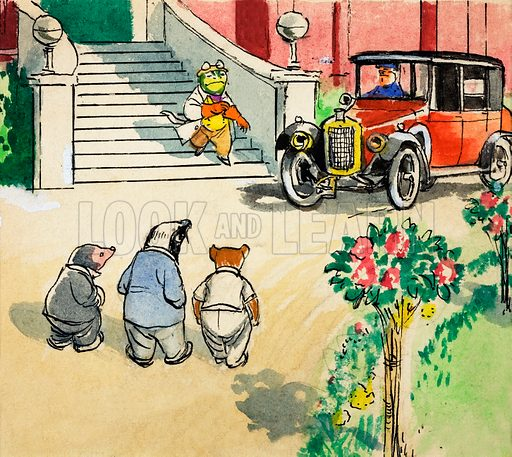 Mole, Badger and Rat at Toad Hall, scene from The Wind in the Willows, by Kenneth Grahame. Original artwork for Treasure.