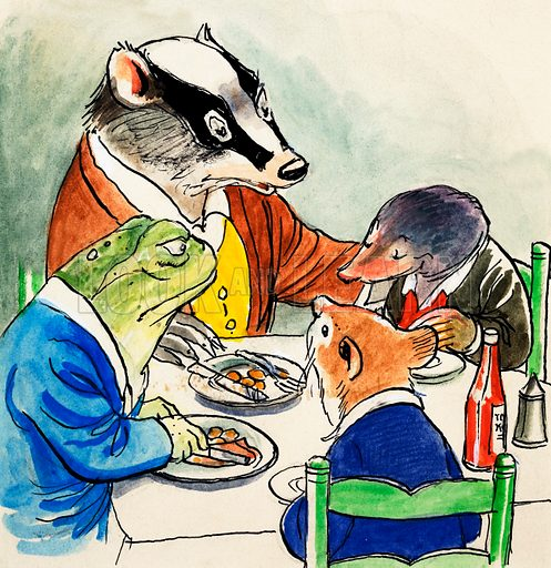 Toad, Badger, Rat and Mole eating a meal, scene from The Wind in the Willows, by Kenneth Grahame. Original artwork for Treasure.