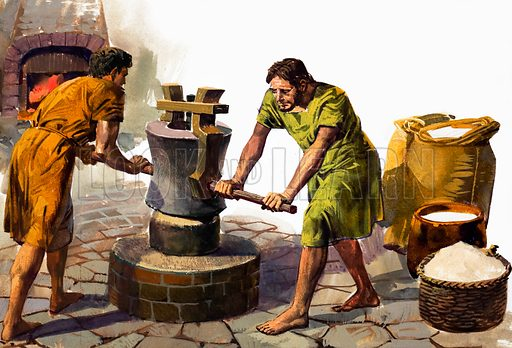 Grinding Corn. Source unknown. Original artwork loaned for scanning by the Illustration Art Gallery.