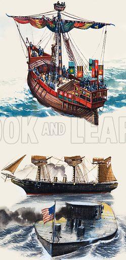 Unidentified ships. Original artwork.