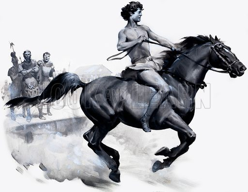 Alexander the Great riding Bucephalus.  Lent for scanning by the Illustration Art Gallery.
