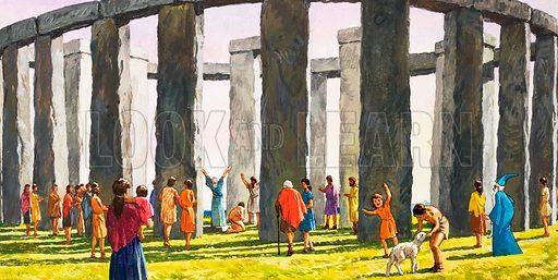 Stonehenge. Original artwork loaned for scanning by the Illustration Art Gallery.