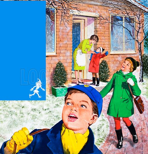 Jack Frost. The text of the poem Jack Frost by Cicely E. Pike with a picture of children leaving for school on a frosty morning.  Original artwork for cover of Treasure issue no 155. Lent for scanning by the Illustration Art Gallery.