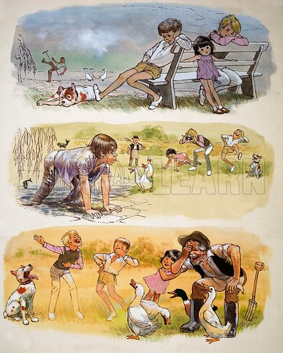 Children playing montage. Original artwork (dated 12/7/69) loaned for scanning by the Illustration Art Gallery.