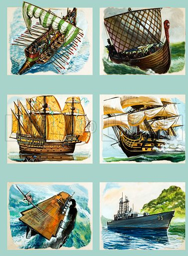 Sailing ships montage. From The Look and Learn Book of 1001 Questions and Answers. Original artwork loaned for scanning by the Illustration Art Gallery.