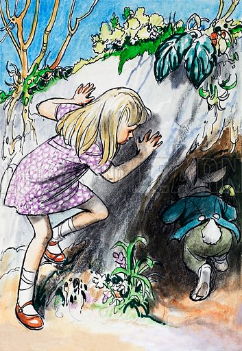 Alice in Wonderland, based on the novels Alice in Wonderland and Alice Through the Looking Glass by Lewis Carroll. From Treasure (1966-67). Original artwork loaned for scanning by the Illustration Art Gallery.