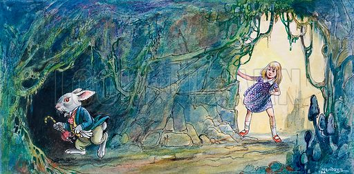 Alice following the White Rabbit down the rabbit hole, scene from Alice in Wonderland, by Lewis Carroll. Illustration from Treasure (1966-1967).