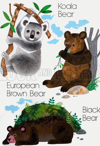 Bears. Original artwork loaned for scanning by the Illustration Art Gallery.