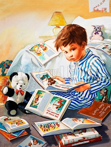 Young Boy reading story books.