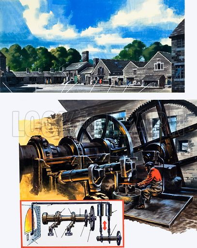 Giant engine. Original artwork loaned for scanning by the Illustration Art Gallery.
