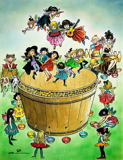 Dancing fairies making wine. Illustration from Teddy Bear (date unknown).