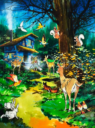 Woodland animals visit a fairy house. Illustration from Teddy Bear (date unknown).
