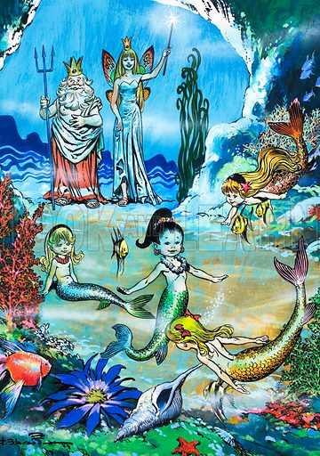 Mermaids at play (pictures, illustrations, art, artwork: Jesus Blasco)