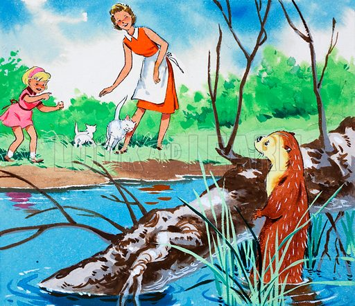 Fliptail the Otter. From Playhour (date unknown). Original artwork loaned for scanning by the Illustration Art Gallery.