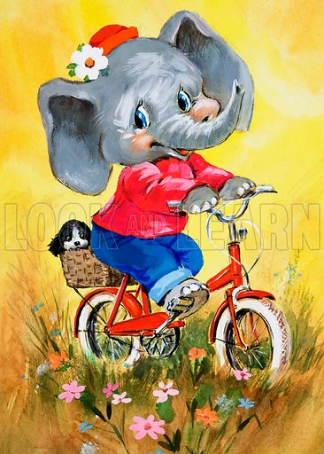 Elephant on a bicycle. Original artwork loaned for scanning by the Illustration Art Gallery.