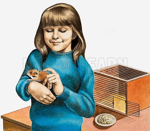 A Girl and Her Hamster. Original artwork loaned for scanning by the Illustration Art Gallery.