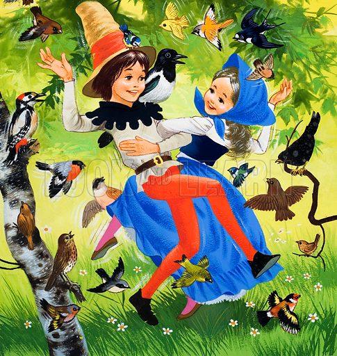 Children dancing in the woodlands.
