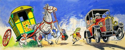 Horse startled by a car speeding past, scene from The Wind in the Willows, by Kenneth Grahame. Illustration from Treasure (1974–1975).