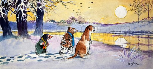 Mole, Rat and Otter walking in the snow, scene from The Wind in the Willows, by Kenneth Grahame. Illustration from Treasure (1974–1975).