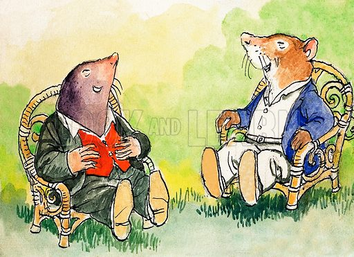 Mole and Rat laughing, scene from The Wind in the Willows, by Kenneth Grahame. Illustration from Treasure (1974–1975).