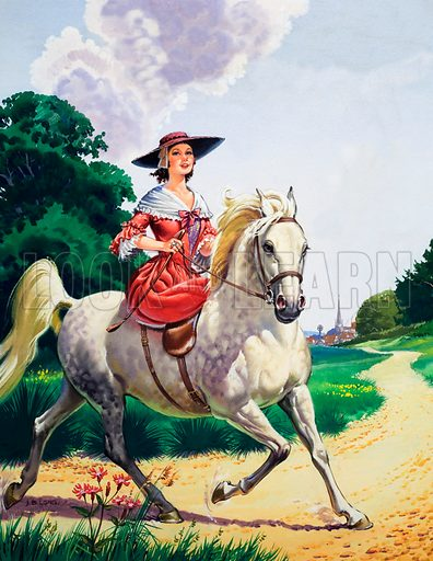 Lady riding sidesaddle on a horse.