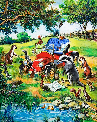 Woodland animals find an old car. Original artwork loaned for scanning by the Illustration Art Gallery.