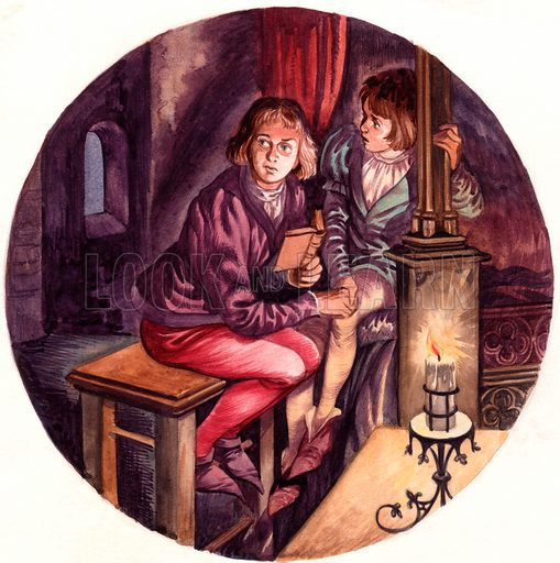 The Princes in the Tower.  Original artwork for illustration on p17 of Treasure issue no 77.  Scan kindly supplied by Robert Long.