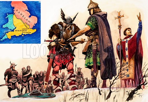 Vikings concede defeat. Original artwork (dated 20/7/63) loaned for scanning by the Illustration Art Gallery.