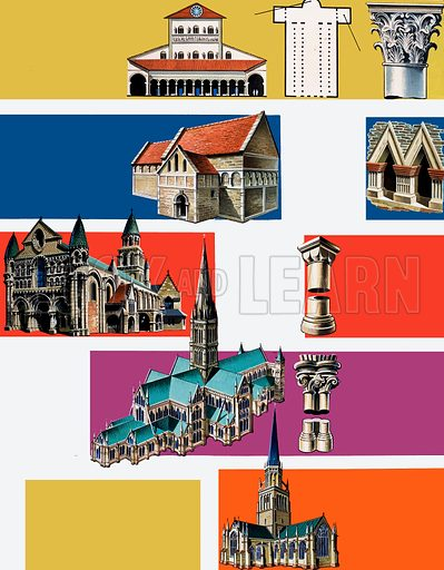 Cathedrals. Original artwork for Look and Learn Finding Out annual.