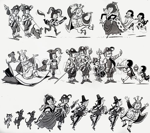Nursery rhyme illustrations. From Treasure. Original artwork loaned for scanning by the Illustration Art Gallery.