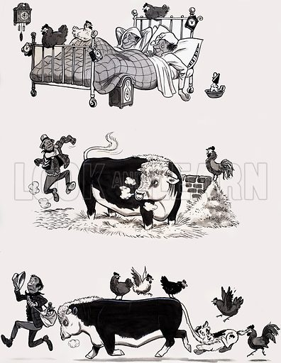 Nursery rhyme illustration. From Treasure (artwork dated 18 April 1967). Original artwork loaned for scanning by the Illustration Art Gallery.