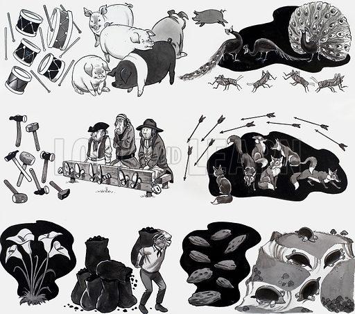 Nursery rhyme illustration. From Treasure (artwork dated 18/2/67).