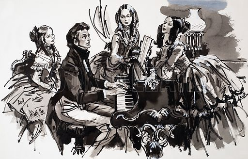 Chopin with female admirers